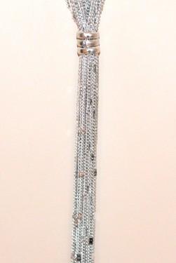 COLLANA LUNGA donna ARGENTO catena multi fili collier elegante long necklace G46