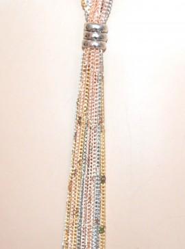 COLLANA LUNGA donna ARGENTO ORO ROSA catena multi fili collier elegante necklace G46