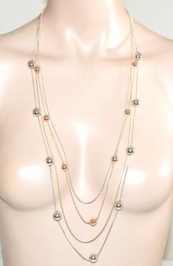 COLLANA LUNGA donna multi fili argento oro rosa dorato ciondoli collier G48
