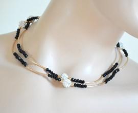 COLLANA LUNGA donna ORO NERA cristalli strass dorata elegante girocollo collier A58