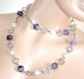 COLLANA LUNGA girocollo donna elegante pietre lilla glicine viola cristalli collier cerimonia F230