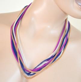 COLLANA LUNGA GIROCOLLO donna fili argento oro blu fucsia necklace collier 210D