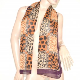 FOULARD donna seta stola coprispalle x abito\vestito da cerimonia velato bufanda mujer leopardato marrone 61