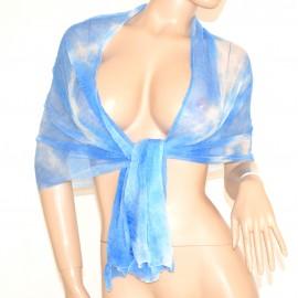 FOULARD STOLA donna Azzurro Celeste Bianco SCIARPA elegante coprispalle CERIMONIA scarf 700C