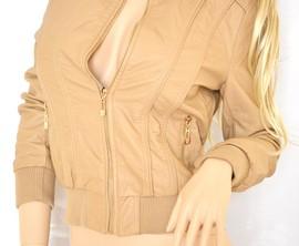 GIUBBINO donna Giubbotto Beige camel eco pelle Giacca ecopelle Jacket Chaqueta Giacchino jacke куртка G04