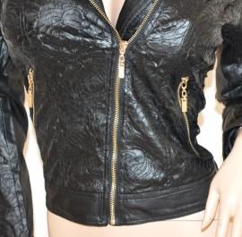 GIUBBINO donna NERO giacca eco pelle sexy giacchino giubbotto ricamato zip oro H25