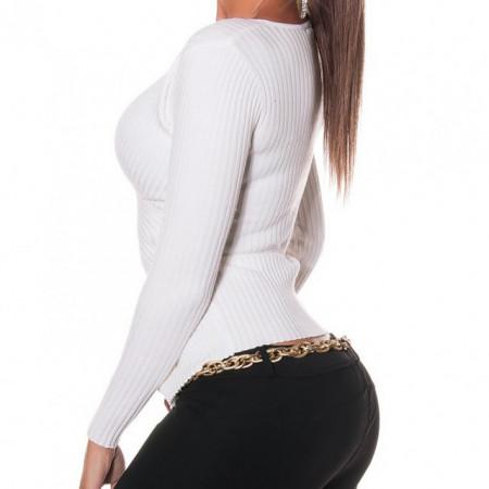 MAGLIETTA BIANCA donna manica lunga maglia sottogiacca scollo V pizzo ricamato AZ5