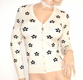 MAGLIETTA BIANCA NERA cardigan donna maglia sottogiacca manica lunga golfino bottoni F75