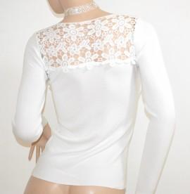 MAGLIETTA donna BIANCA elegante maglia sottogiacca maniche lunghe ricamate strass da cerimonia E40