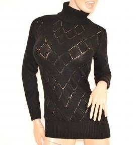 MAGLIONE NERO donna MAXI PULL collo alto dolcevita maglietta manica lunga lana H1
