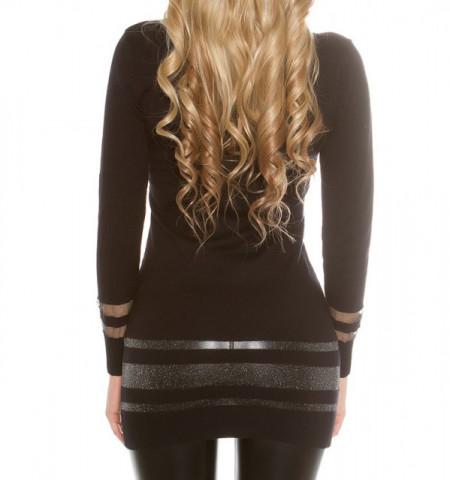 MAXI PULL NERO donna maglietta collo alto maniche lunghe maglione pullover AZ2