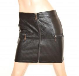 MINIGONNA donna NERA pelle gonna corta sexy zip ecopelle skirt мини-юбка jupe Z1