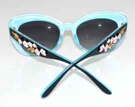 OCCHIALI da sole Blu Azzurro donna lenti asta fiori floreale oro sunglasses темные F30
