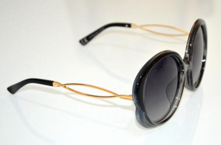OCCHIALI da SOLE donna NERO GRIGIO lenti ovali aste oro dorato óculos de sol BB14