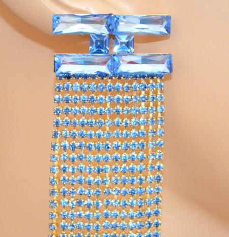 ORECCHINI AZZURRI CELESTI ORO cristalli donna fili strass pendenti lunghi eleganti pendientes boucles G52