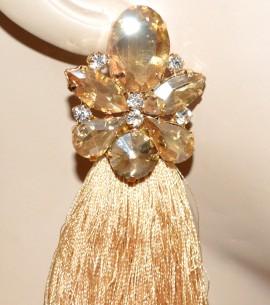 ORECCHINI BEIGE ORO AMBRA donna fili pendenti cristalli strass eleganti cerimonia A5
