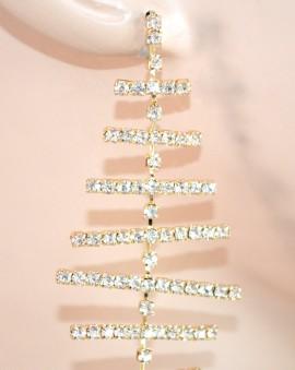 ORECCHINI donna ORO cristalli pendenti STRASS cerimonia elegantI feste E55