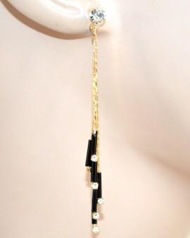 ORECCHINI donna ORO NERI cerimonia fili pendenti sottili eleganti cristalli strass boucles F190