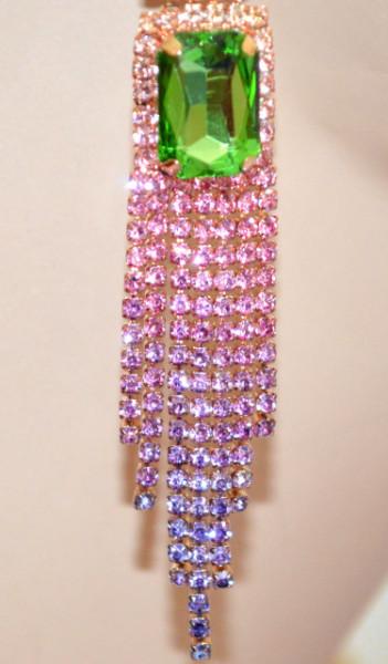 ORECCHINI donna ORO ROSA LILLA fili pendenti strass cristalli colorati verde azzurro N16