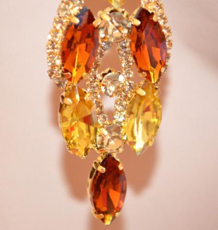 ORECCHINI ORO AMBRA donna cristalli gocce strass dorati pendenti lunghi cerimonia eleganti N1