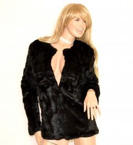 cheaper 6e43f e1a78 PELLICCIA NERA donna giacca ecologica cappotto corto giaccone giubbino  elegante G85