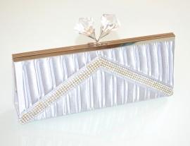 POCHETTE ARGENTO  borsello donna strass  borsa  raso  cristalli elegante E140