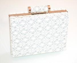 POCHETTE ARGENTO donna pizzo ricamato clutch borsello borsa brillantini elegante E93