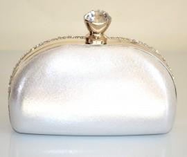 POCHETTE donna CRISTALLI strass ARGENTO borsello DA CERIMONIA borsa clutch bag 300A