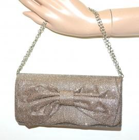 POCHETTE donna oro bronzo rosato borsello elegante borsa brillantini festa G8