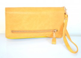 PORTAFOGLIO BORSELLO donna beige giallo zip oro borsellino portamonete pochette A12