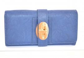 Portafoglio donna pelle borsellino BLU fibbia dorata portefeuille idea regalo 1120