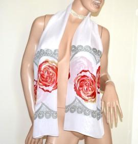 STOLA BIANCA donna foulard coprispalle seta velato fantasia astratta floreale elegante A54