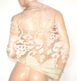 STOLA donna ROSA CIPRIA 50% SETA coprispalle scialle foulard ricamo velato elegante A10