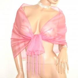 STOLA donna ROSA foulard scialle cerimonia velato frange seta coprispalle abito da sera elegante E120