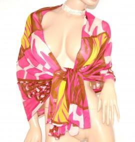 STOLA FUCSIA VERDE MARRONE coprispalle fantasia MAXI FOULARD seta velata cerimonia elegante abito da sera S6