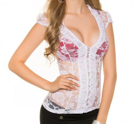 TOP CAMICIA BIANCA donna canotta pizzo ricamata velata strass maglia elegante T-shirt sexy AZ51