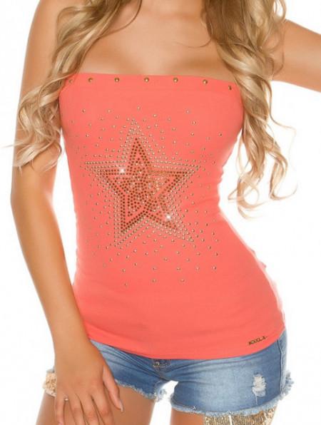 TOP CORALLO donna fascia canotta stella dorata borchie maglietta sottogiacca cotone sport AZ75