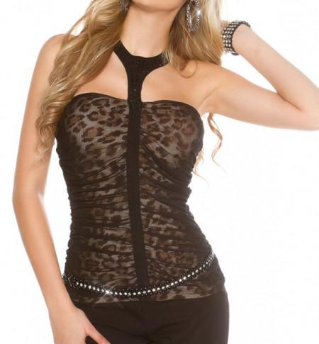 TOP donna canotta fascia nera leopardata cristalli maglietta sexy bustino A40