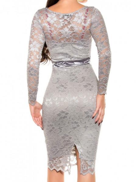 ABITO GRIGIO ARGENTO donna vestito pizzo ricamato tubino manica lunga elegante cerimonia A18