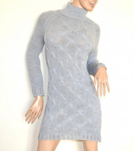 ABITO grigio vestito a maglia lana donna manica lunga collo alto maglione made Italy G70