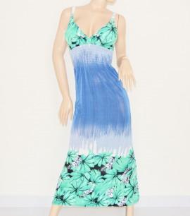 ABITO LUNGO copricostume vestito donna estivo mare spiaggia vestido viscosa cotone BLU FIORI VERDE ACQUAMARINA 69