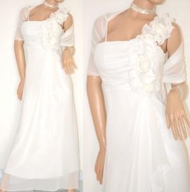 new style 502d7 9a1ea ABITO LUNGO donna BIANCO elegante VESTITO SETA + STOLA velata perle  cerimonia dress 20X