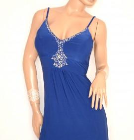 ABITO LUNGO donna BLU vestito cerimonia strass da sera elegante damigella E135