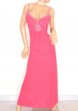 ABITO LUNGO donna ROSA FUCSIA elegante vestito da cerimonia sexy scollatura strass cristalli da sera party E135