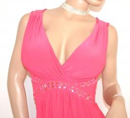 ABITO LUNGO donna ROSA FUCSIA elegante vestito damigella cerimonia cristalli perline abito da sera E20