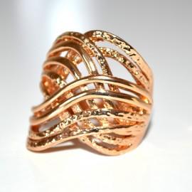 ANELLO donna oro dorato elegante da cerimonia metallo intrecciato 55