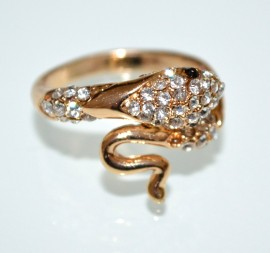 ANELLO SERPENTE oro dorato strass donna fedina sexy ondulata idea regalo ring A29