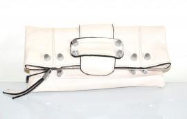BORSELLO donna borsa bianco avorio eco pelle tracolla chiodini argento F100