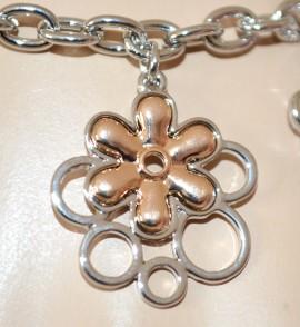 BRACCIALE donna ARGENTO ciondoli fiori ARGENTO catena anelli idea regalo bracelet E40