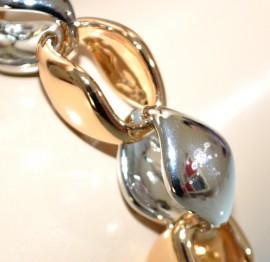 BRACCIALE donna argento oro dorato lucido maglia catena metallo bracelet G32